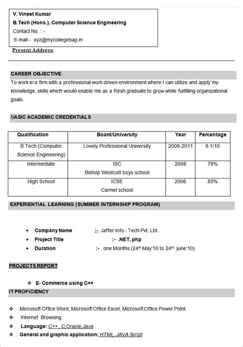 Curriculum Vitae Format 2014 by Format For Cv