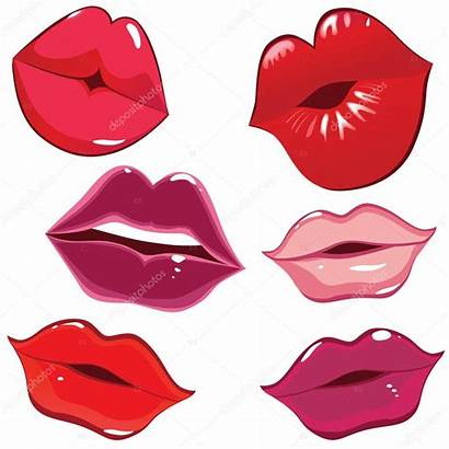 Pink Labios Clipart Lips Glossy Kiss Vector