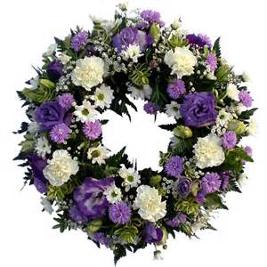 traditional funeral wreath lilac white magnolia flowers tring
