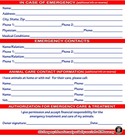 information card template emergency information card template crafts4k9rescue