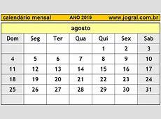 Calendário Mensal Agosto de 2019 Imprimir Mês de Agosto