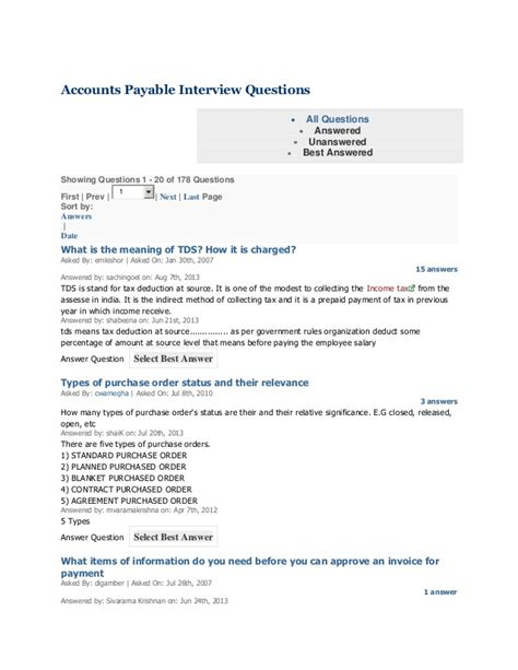 Questions To Ask In An For Accounts Payable Position by Accounts Payable Questions