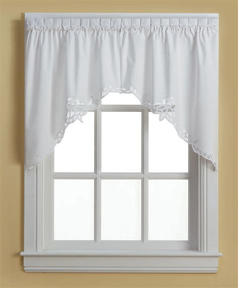 battenburg lace cotton kitchen curtain swag white