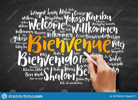 Bienvenue Welcome In French Word Cloud Stock Photo - Image ...