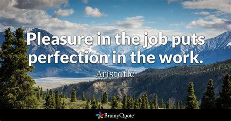 pleasure   job puts perfection   work