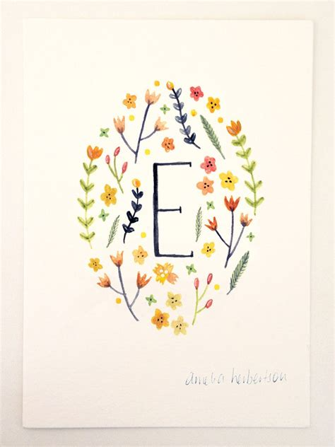 yellow flowers monogram letter  floral art print