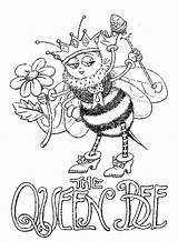 Bee Coloring Queen Pages Adult Bees Printable Cute Colouring Adults Print Quote Getcolorings Colorings Discover sketch template