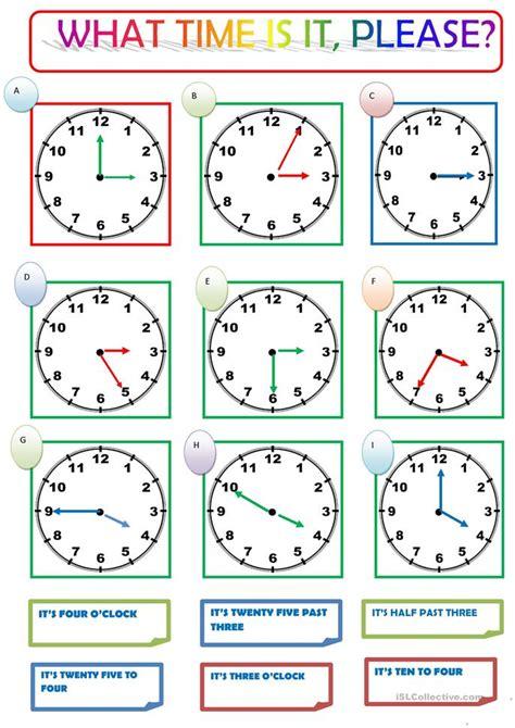 time    worksheet  esl printable