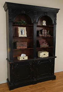 Arch Bookcase by Handsome Distressed Black Carved Mahogany Georgian