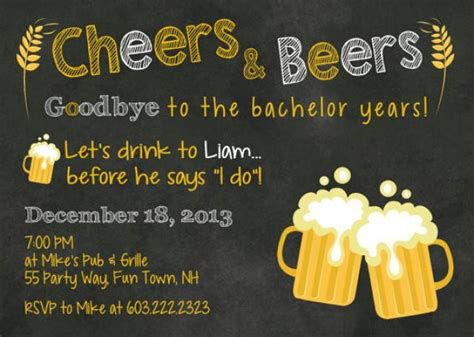 bachelor party invitation beers mugs chalkboard invite
