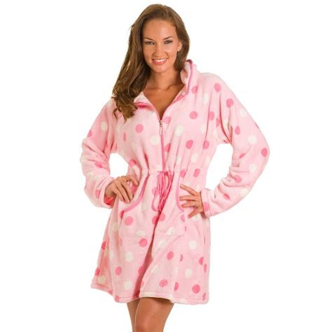 robe de chambre peignoir femme pink spot zip front robe