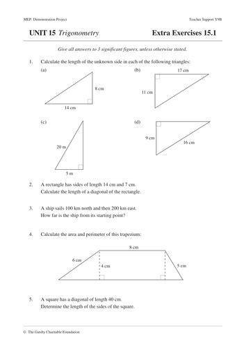 trigonometry mep unit 15 year 9 worksheets by cimt