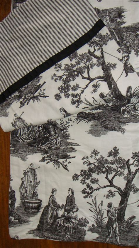 waverly country toile black and white fabric shower