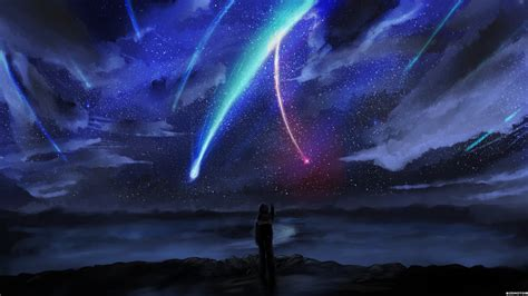 wallpaper night anime galaxy sky stars