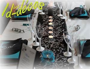 Decoration mariage anniversaire fetes en noir et turquoise for Salle de bain design avec décoration de table pour anniversaire 20 ans