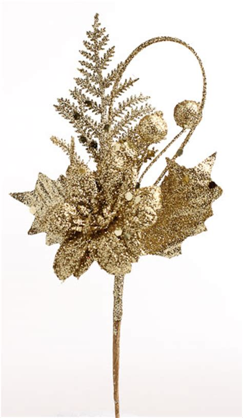 glittery gold christmas floral picks holiday florals