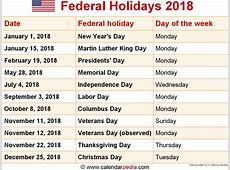 2018 Calendar With Holidays calendar printable free
