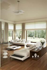 Dco Salon Canaps Blancs Commode En Bois Et Suspension