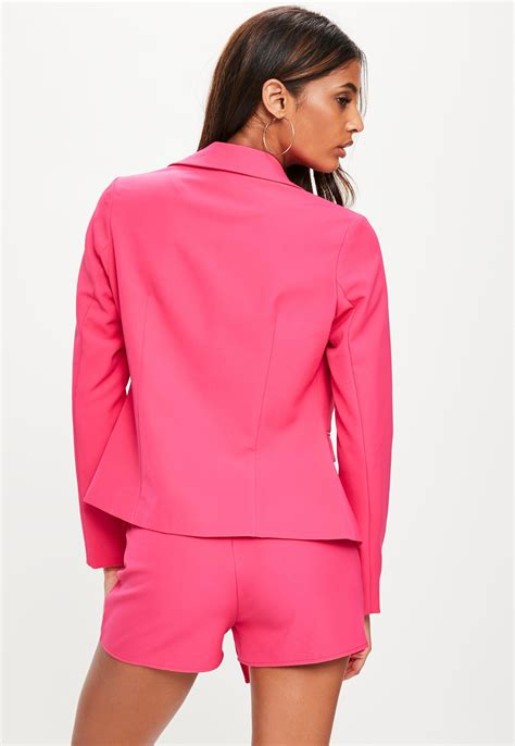 missguided pink tailored blazer jacket in pink lyst