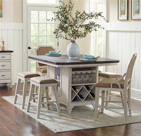 kitchen island with 4 chairs avalon furniture mystic cay aval grp d00042 tbl 6 set1