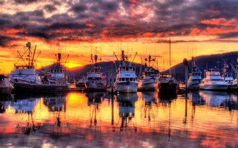 harbor marina   amazing sunset hdr wide wallpaper