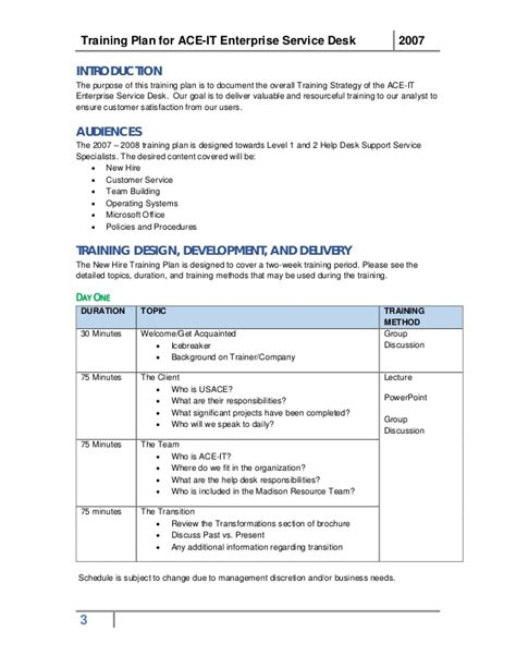 sample training plan business template
