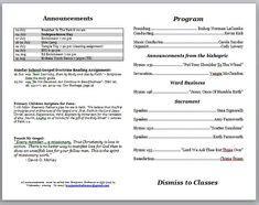 church program template  bulletin