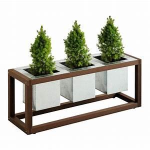 Bac En Bois Pour Plantes : bac plantes design blok en bois trio pots s acier 100 ~ Dailycaller-alerts.com Idées de Décoration