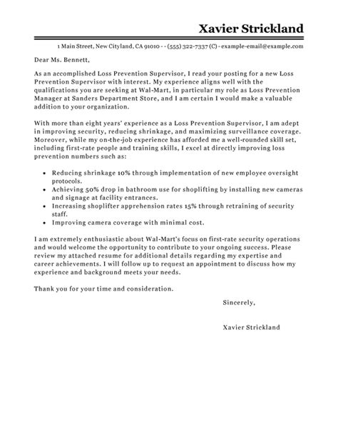 loss prevention supervisor cover letter examples livecareer