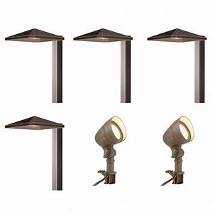 Electric landscape lighting kits : Hampton bay low voltage integrated led bronze outdoor