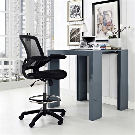modway veer drafting stool black mw eei 1423 blk at