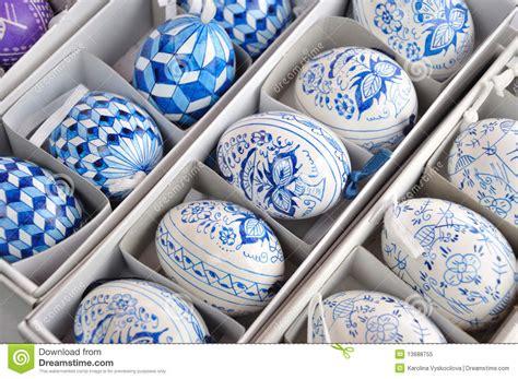 hand  traditional blue  white easter eggs stock