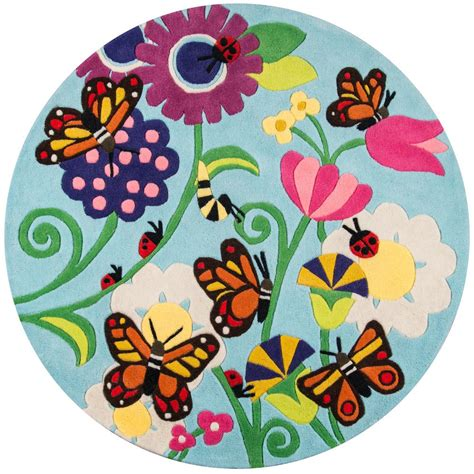 Lil Momeni Rugs by Momeni Lil Mo Whimsy Butterfly Multi 5 Ft X 5 Ft Indoor