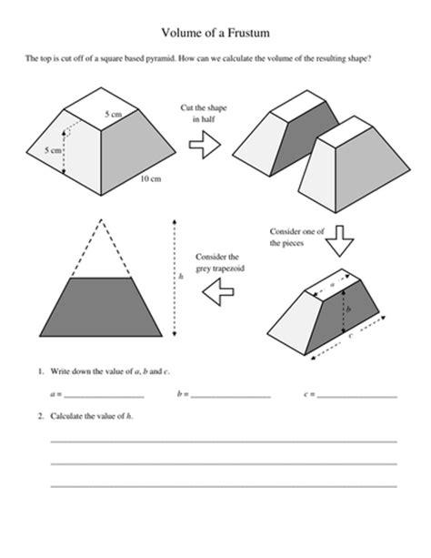 pyramids  frustums volumes worksheet  kevinbertman