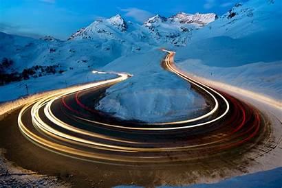 4k Winter Road Exposure Snow Wallpapers Nature