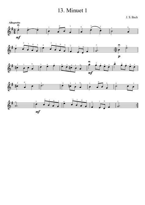 Minuet 1 Suzuki suzuki violin method v 1 13 bach minuet 1 musescore