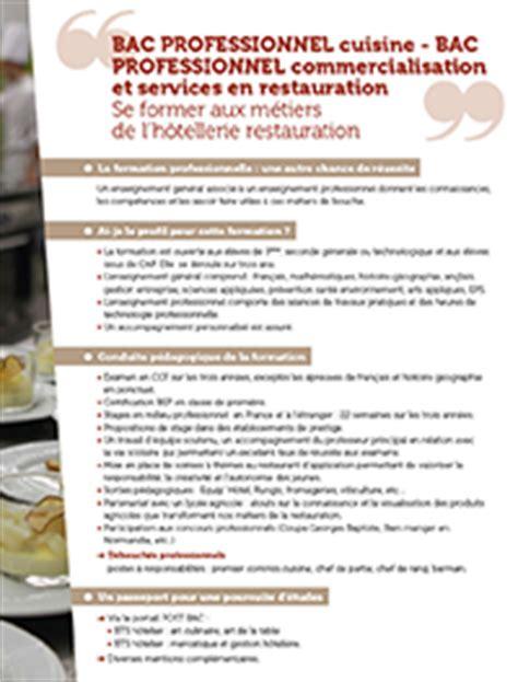 apres bac pro cuisine bac pro cuisine ecole hôtelière daniel brottier