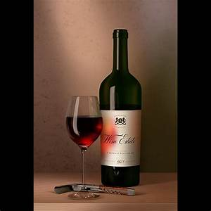 Packreate » Red wine bottle and glass mock-up in dutch ...