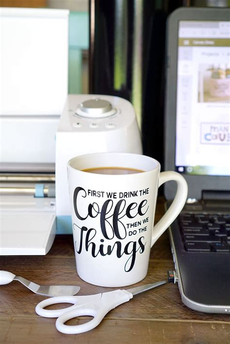 Cut out the coffee svg file onto oracal 651 vinyl. DIY Funny Coffee Mugs + Free SVG Cut Files - Happiness is Homemade