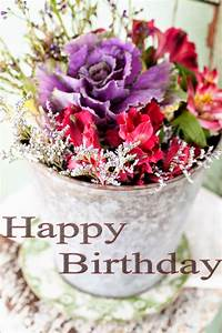 Happy birthday cake and flowers images ~ Greetings Wishes ...