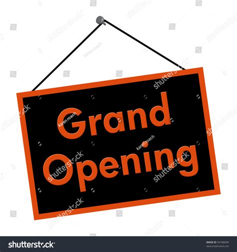 A Black And Orange Sign With The Words Grand Opening