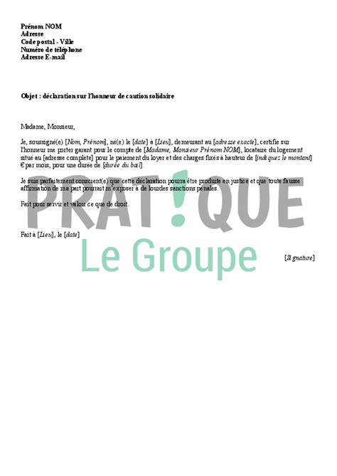 lettre de d 233 claration sur l honneur de caution solidaire pratique fr
