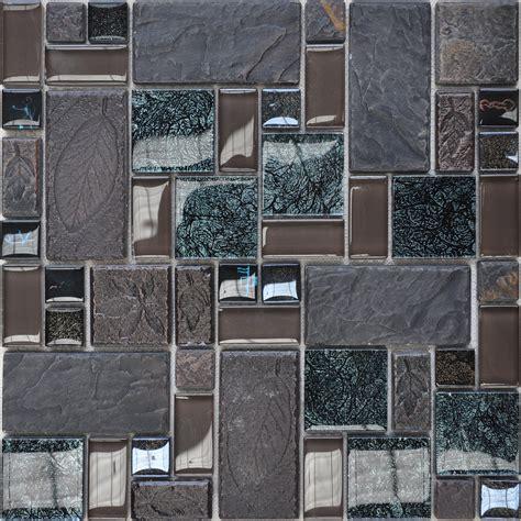 Porcelain And Glass Tiles Wall Bathroom Backsplash Leaves