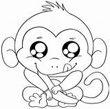 Coloring Monkey Pages Cute Cartoon sketch template
