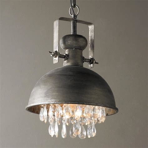 industrial pendant with crystals pendant lighting by