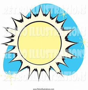 Retro Illustration of a Sun over Blue with Stars by ...