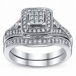 cherish 14k white gold diamond wedding set 3 8 carat total With robbins brothers wedding ring sets