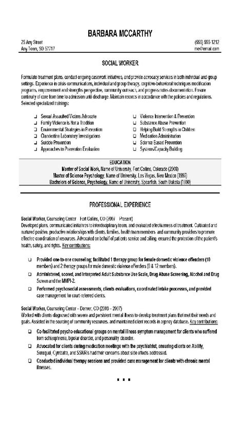 Resume Work by Social Work Resume Objective Statement