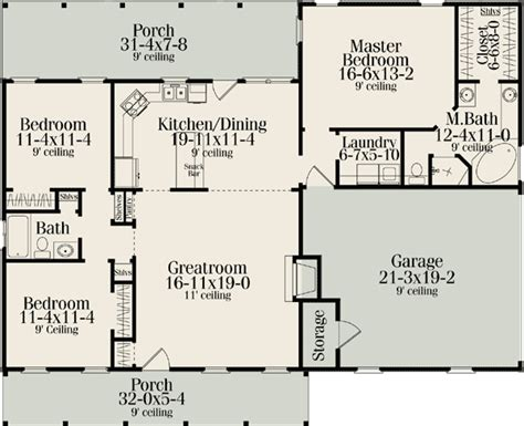 Split Bedroom Plan by Ranch Style House Plans With Split Bedrooms Cottage