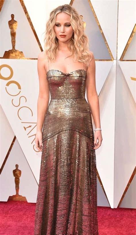 Jennifer Lawrence in Dior | Dark Gold Metallic Sequin ...